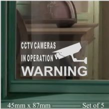 5 x Small-Monitored by CCTV Video Recording Camera Security Warning Window Stickers-Self Adhesive Vinyl Sign